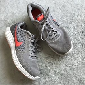 Nike Revolution 3 Running Shoes Gray Orange